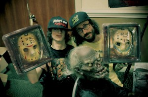 Mat, his son, the Crypt Keeper, and some signed Kane Hodder hockey masks.